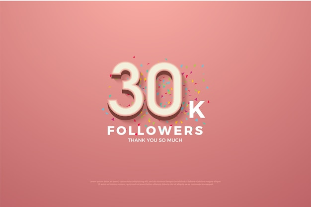 Thirty thousand followers with numbers on a pink background