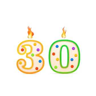 Thirty years anniversary, 30 number shaped birthday candle with fire on white