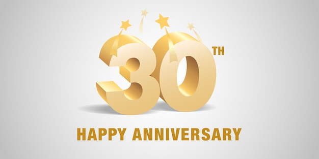 Thirty years anniversary with 3d golden numbers