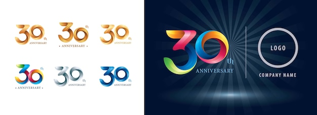 Thirty years celebration anniversary logo, origami stylized number letters, twist ribbons logo