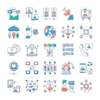 This day in age, we re all about fast, quick communication, so we hope you ll find these advertising and communication, networking vector bundle to be very valuable to your stack of icons.