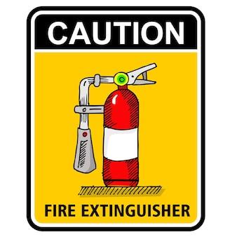 Это вектор наклейки осторожно огнетушитель
