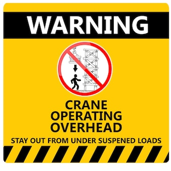 이것은 경고 크레인 작동 오버 헤드 기호 벡터입니다.