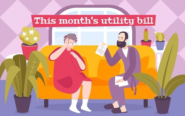 Иллюстрация счета за коммунальные услуги за этот месяц