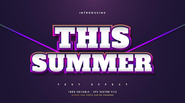 This summer text with retro and cartoon style in colorful gradient. editable text style effect