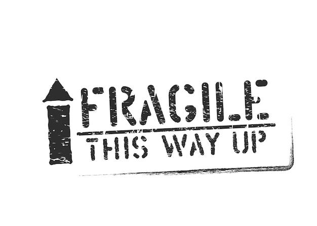 Таким образом, гранж штамп отпечаток для грузов и логистики, изолированные на белом фоне. векторный знак хрупкая коробка со стрелкой вверх и чернилами