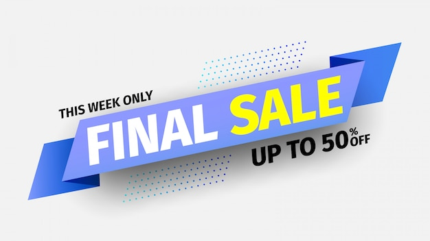 This week only final sale banner. blue ribbon.  illustration.
