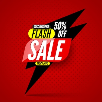 This weekend flash sale banner, 50% off.