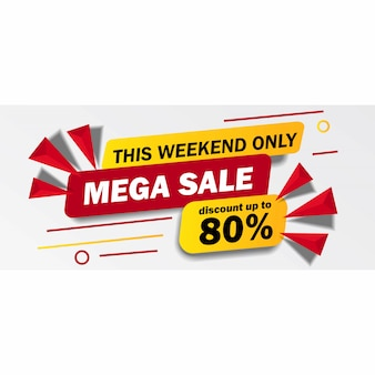 This weekend only mega sale banner with yellow and red color