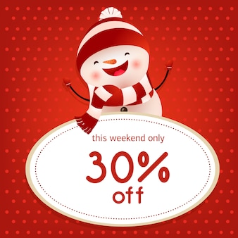 This weekend sale red poster design with dancing snowman
