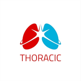 Thoracic lung logo simple vector