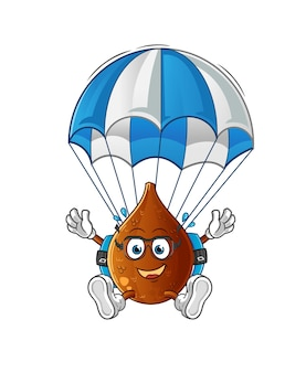 Thorny palm skydiving character cartoon mascot