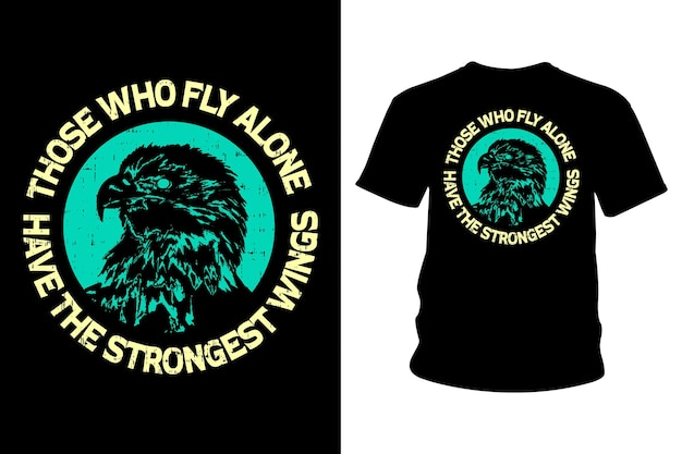 혼자 날아가는 사람은 최강 날개 슬로건 티셔츠 디자인