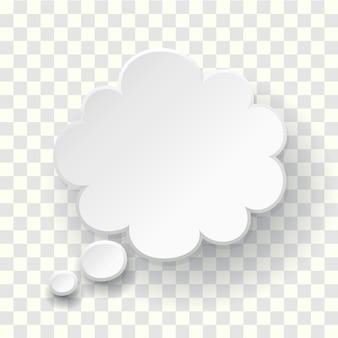 ふきだしのシンボルを考えました。空白の空の白い吹き出し。ドリームクラウドテンプレート。ベクトルは、透明な背景にクラウド3dイラストを考える