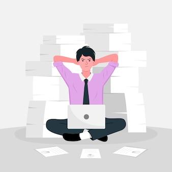 주위에 종이 문서 더미와 함께 바닥에 앉아 사려 깊고 스트레스가 많은 사업가