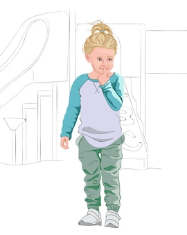 Thoughtful blonde kid in light blue and white t-shirt, pastel green pants and white sneakers