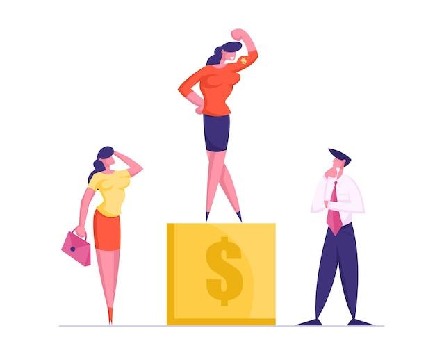 Вдумчивые бизнесмены, стоящие на золотом пьедестале со знаком доллара