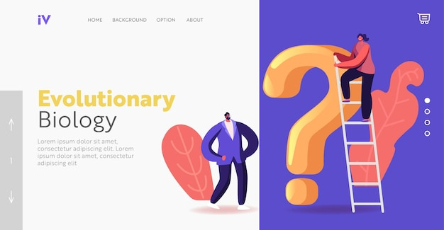 Thoughtful characters thinking at huge question mark landing page template. doubts and confusion concept. people solving paradox or problem searching solution. cartoon people vector illustration
