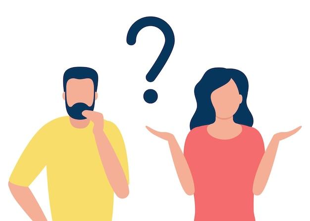 Задумчивый мужчина и сомневающаяся женщина с вопросительным знаком люди решают проблему, выбирают