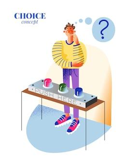指ぬきのチャンスと幸運の選択と機会の決定の選択の概念でゲームをプレイするテーブルの前に立っている思いやりのある男のキャラクター