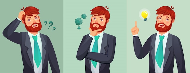 Thoughtful man. male ask questions, doubt or confused and found question answer. thinking serious decision cartoon  illustration