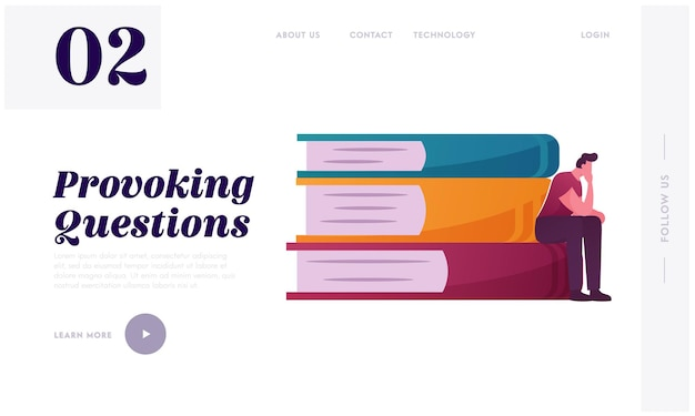 Thoughtful man sitting on huge book pile landing page template.