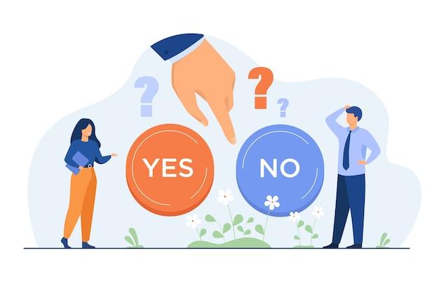 2つのオプションのどちらかを難しい選択をしている思いやりのある人々は平らなイラストを分離しました。
