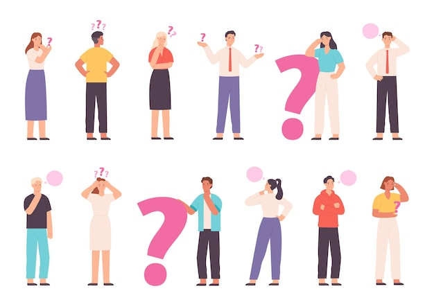Thoughtful people wondering, solving problem and thinking with question marks. choice or decision concept with asking characters vector set. uncertain young man and woman choosing way