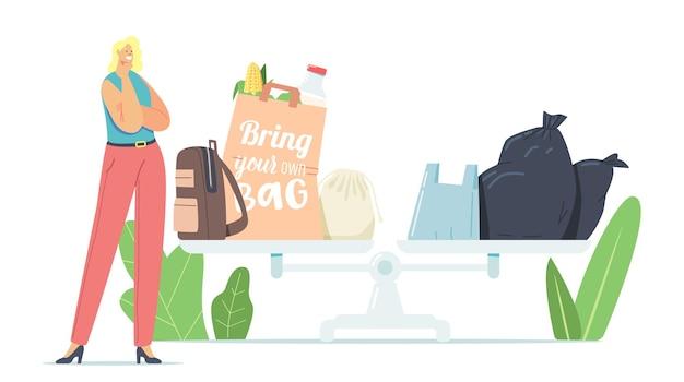 플라스틱 및 친환경 가방으로 거대한 규모의 사려 깊은 작은 여성 캐릭터 스탠드