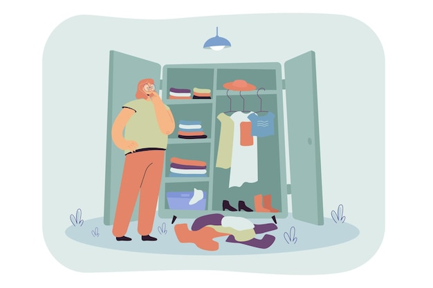 Thoughtful woman choosing clothes in wardrobe flat illustration.