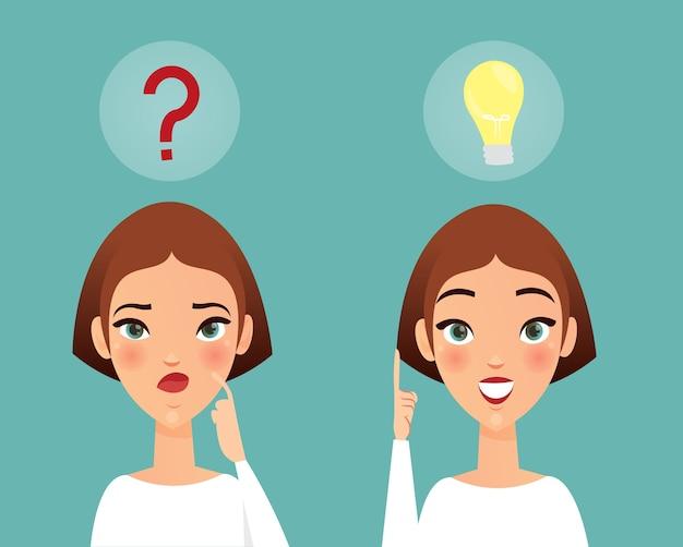 思いやりのある女性、アイデアがあります。考える女の子が質問をし、質問の答えを見つけました。女性は漫画のフラットスタイルのアイデアコンセプトを持っています。