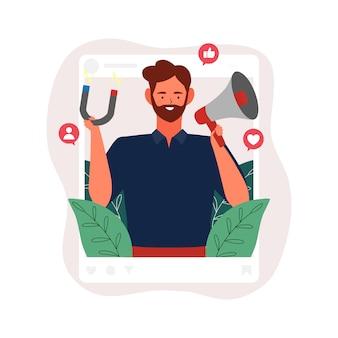 Иллюстрация влияния социальных медиа. мужчина держит мегафон и магнит в рамке социального профиля thr с концепцией значка