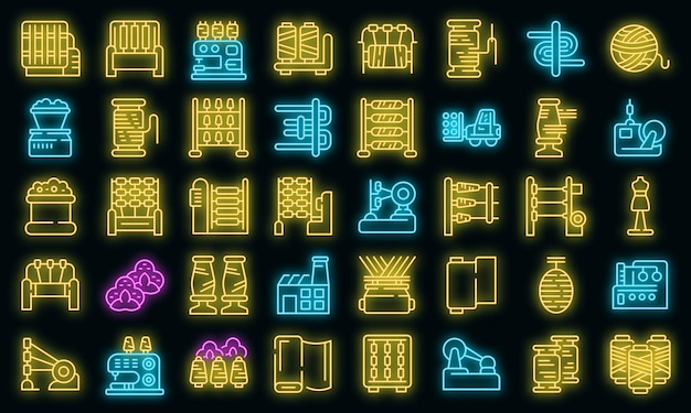 Thread production icons set. outline set of thread production vector icons neon color on black