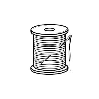 바늘 손으로 그린 개요 낙서 아이콘이 있는 스레드 스풀. 흰색 배경에 고립 된 인쇄, 웹, 모바일 및 infographics에 대 한 면 실과 바늘 벡터 스케치 그림.