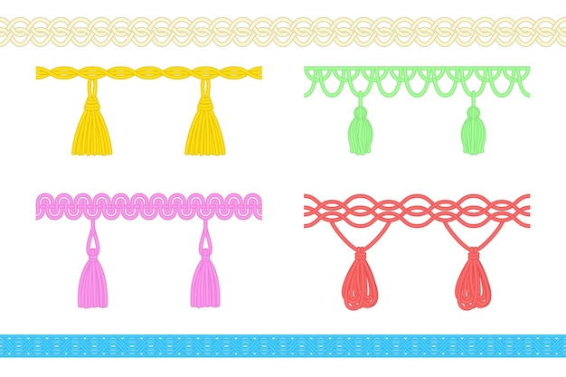 Thread string with tassel, fringe or brush embellishment set. decorative hanging cord braid chain, handmade clothing or curtain design element vector illustration isolated on white background