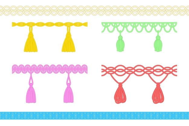 タッセル、フリンジ、またはブラシ装飾セットの糸ひも。白い背景で隔離の装飾的な吊り下げコードブレードチェーン、手作りの服やカーテンのデザイン要素のベクトル図