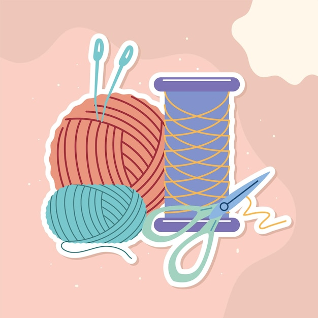 Thread tube and ball knitted