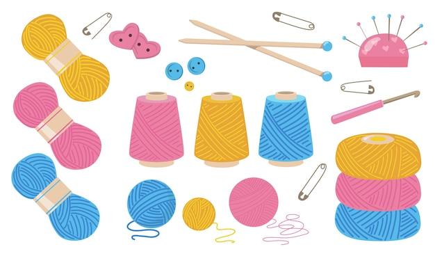 フラットイラストセットを縫うための糸。孤立したベクトルイラストコレクションを編むための漫画の綿またはウール糸ボビン。ファブリックロープと手作りのコンセプト