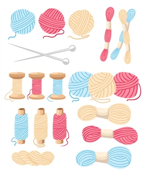 Threads for sewing for cross stitching set tools for sewing knitting needles  wool knitwear yarn thread knitting weaving wool  cartoon illustration multi-coloured