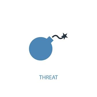 위협 개념 2 색 아이콘입니다. 간단한 파란색 요소 그림입니다. 위협 개념 기호 디자인입니다. 웹 및 모바일 ui/ux에 사용할 수 있습니다.