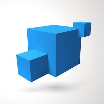 세 개의 3d 큐브 로고 프리미엄 벡터