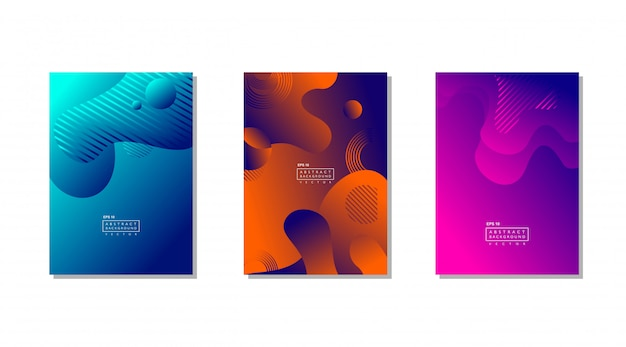 Three abstract background color with fluid shapes