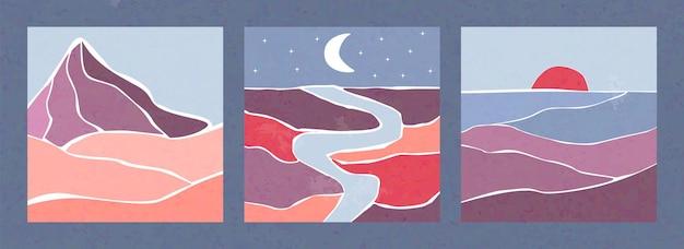 Три абстрактных пейзажа в стиле бохо набор дизайн векторные иллюстрации