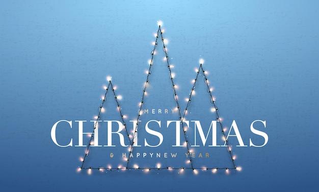 Three abstract christmas tree made of garland lights
