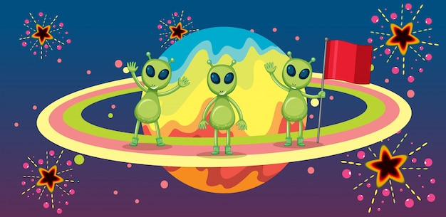 新しい惑星の3人の宇宙人