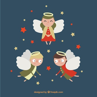 Three amusing angels in flat design