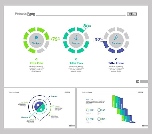 Set di tre modelli di diapositive di analytics