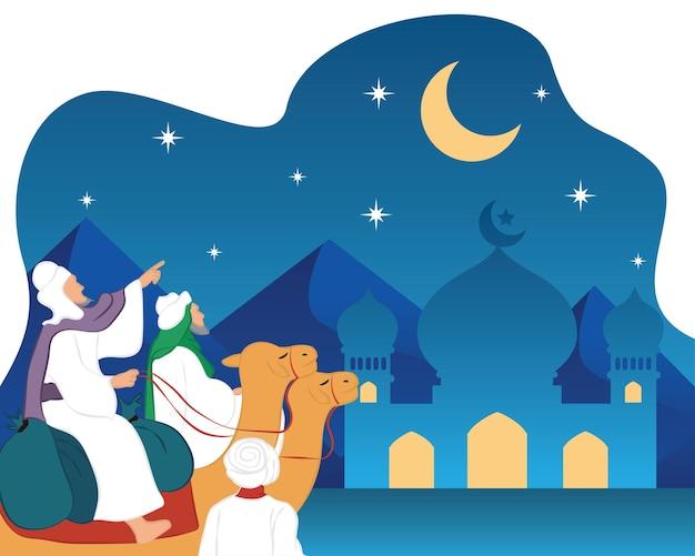 Трое арабов едут на верблюде в пустыне, чтобы встретить священный месяц рамадан. векторная иллюстрация с текстом «рамадан карим».
