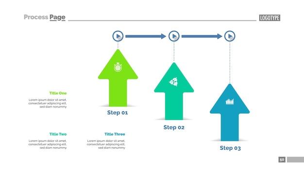 Three arrows workflow slide template