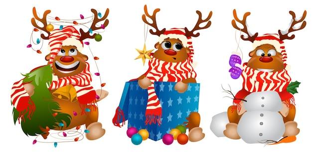 Three artoon christmas deer